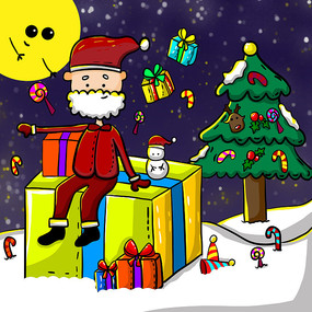 原创手绘圣诞节圣诞老人送礼物卡通