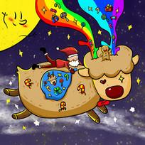 原创手绘圣诞老人带着礼物骑驯鹿