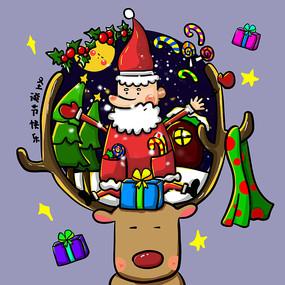 原创绘圣诞老人驯鹿圣诞节