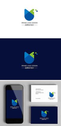 IT电子科技电器U字母标志logo设计