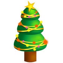 手绘圣诞节圣诞树元素插画