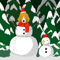 手绘雪人圣诞节元素插画