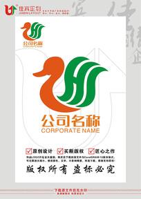 HS英文字母鸭子烤鸭卤味标志设计