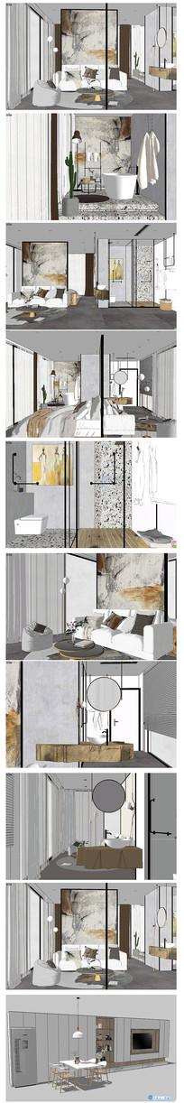 单身公寓SU模型