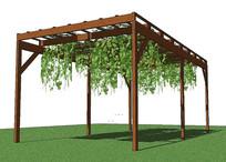 爬藤植物木质廊架