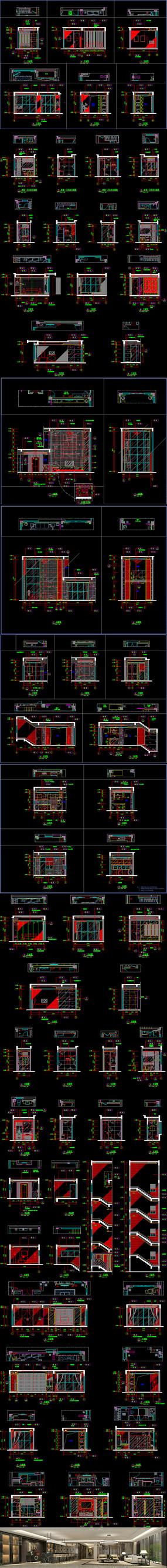 四居室中式风格别墅装修CAD施工图效果图