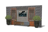 中式客厅背景墙软装