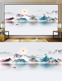 高清细分层彩色水墨油画招财山水画背景墙