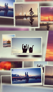 浪漫相片相框情人婚礼家庭通用相册pr模板