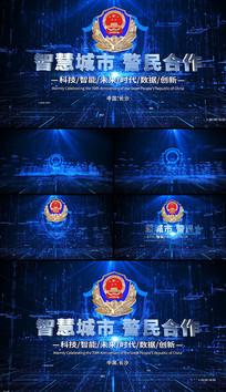 蓝色公安警察科技城市文字落版片头AE模板