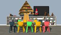 现代儿童桌椅柜子组合 skp
