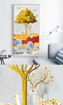 新中式麋鹿飞鸟抽象风景玄关晶瓷画 PSD