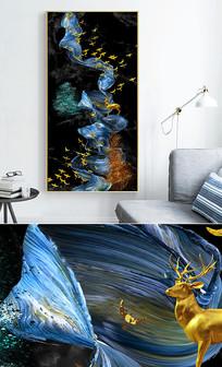 新中式轻奢艺术抽象飞鸟麋鹿玄关晶瓷画 PSD