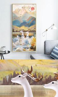 新中式轻奢艺术抽象玄关晶瓷画 PSD