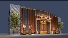 新中式售楼处建筑单体
