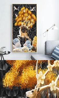 新中式现代简约轻奢艺术玄关晶瓷画 PSD