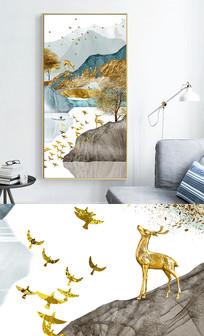 新中式现代轻奢艺术抽象线条风景玄关晶瓷画