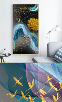 新中式现代轻奢艺术抽象线条风景玄关晶瓷画 PSD