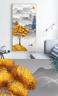 新中式现代轻奢艺术抽象玄关晶瓷画 PSD
