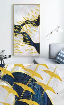 新中式艺术抽象飞鸟玄关晶瓷画 PSD