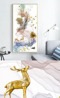 新中式艺术抽象麋鹿线条玄关晶瓷画 PSD