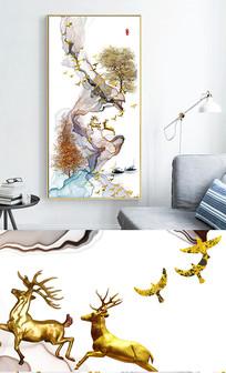 新中式艺术抽象线条风景玄关晶瓷画 PSD