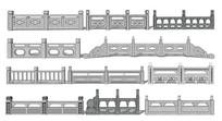 中式大理石栏杆 skp
