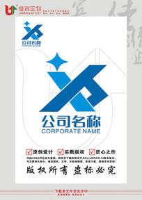 XH英文字母星星科技标志设计 CDR