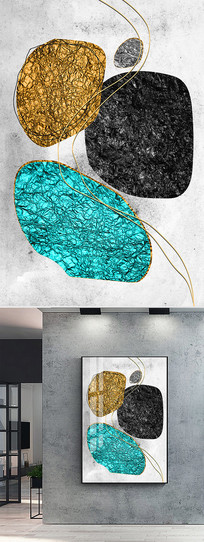 抽象金箔线条晶瓷装饰画 TIF