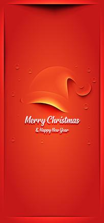 红色圣诞节简约手机海报 AI