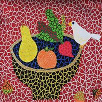 手绘多彩艺术水果油画无框画 TIF