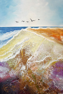 手绘公园山水风景油画无框画 TIF