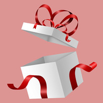 原创打开盖子的礼盒元素