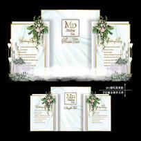 白绿色婚礼效果图设计小清新婚庆迎宾区