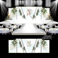 白绿色主题婚礼效果图设计小清新婚庆背景
