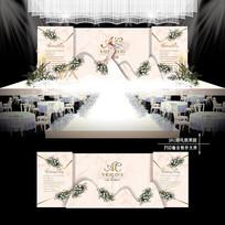 香槟色主题婚礼效果图设计婚庆舞台背景