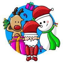 原创手绘圣诞老人麋鹿和小雪人