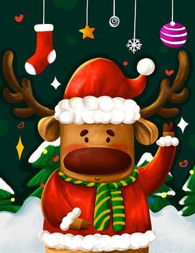 原创元素圣诞节之可爱驯鹿