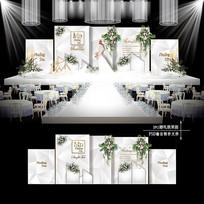 高级灰婚礼效果图设计大理石纹婚庆舞台背景