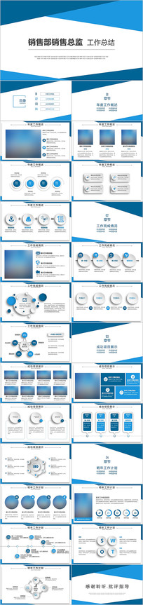 蓝色商务简约销售部销售总监工作总结PPT