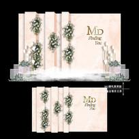 香槟色主题婚礼效果图设计婚庆迎宾区背景