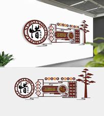 新中式食堂文化墙设计