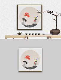 新中式水墨荷花花鸟装饰画