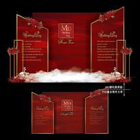 红金色主题婚礼效果图设计婚庆迎宾区