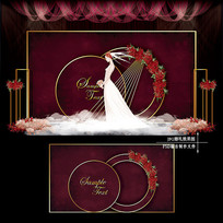 酒红色主题婚礼效果图设计婚庆舞台背景