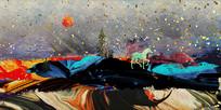 室内山水画冰晶画