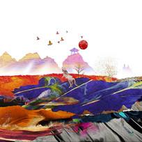 水彩风景画创意油画