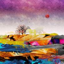 纹理抽象画彩色挂画