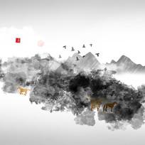 现代山水画屏风画