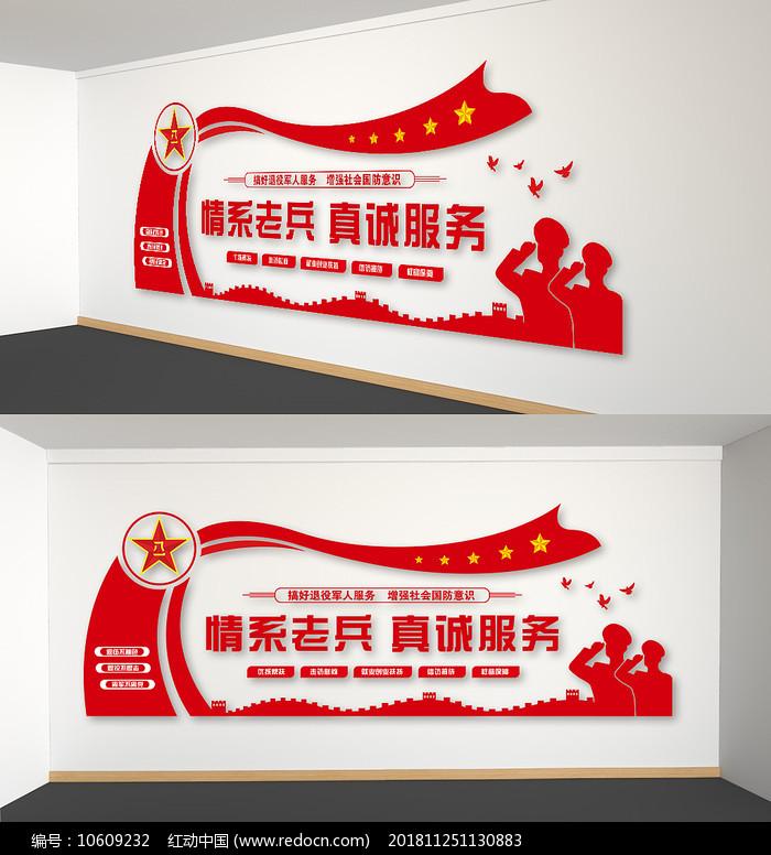 老兵之家退伍军人党建文化墙图片